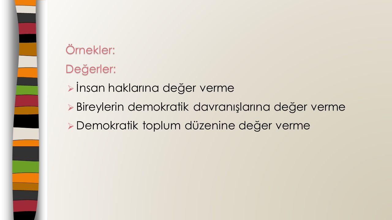 Örnekler: Değerler: İnsan haklarına değer verme. Bireylerin demokratik davranışlarına değer verme.