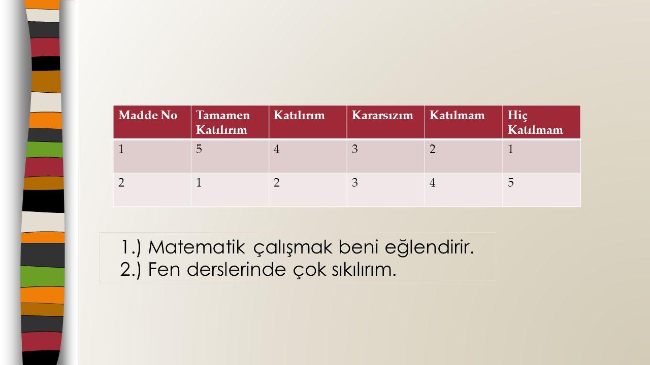 1.) Matematik çalışmak beni eğlendirir.