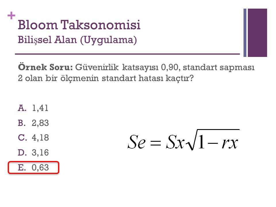 Bloom Taksonomisi Bilişsel Alan (Uygulama)