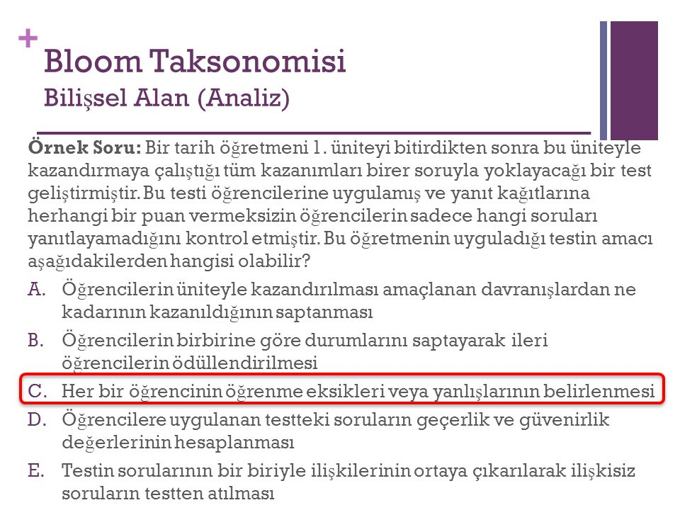 Bloom Taksonomisi Bilişsel Alan (Analiz)