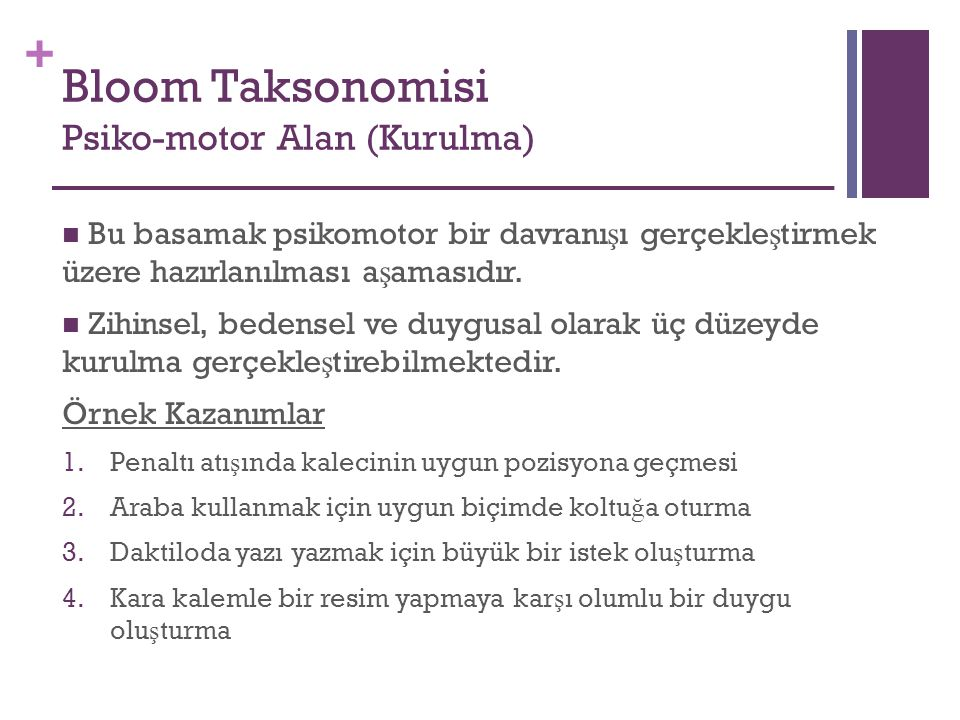 Bloom Taksonomisi Psiko-motor Alan (Kurulma)