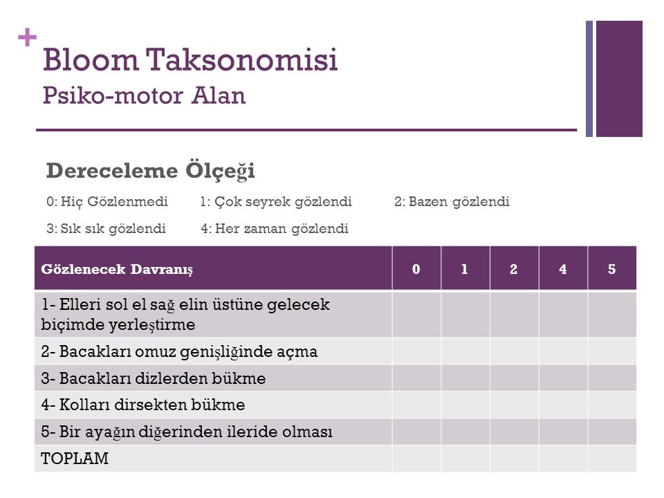 Bloom Taksonomisi Psiko-motor Alan