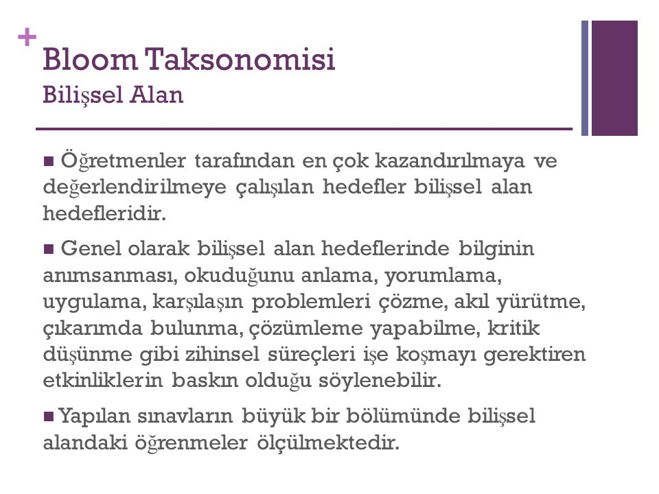 Bloom Taksonomisi Bilişsel Alan