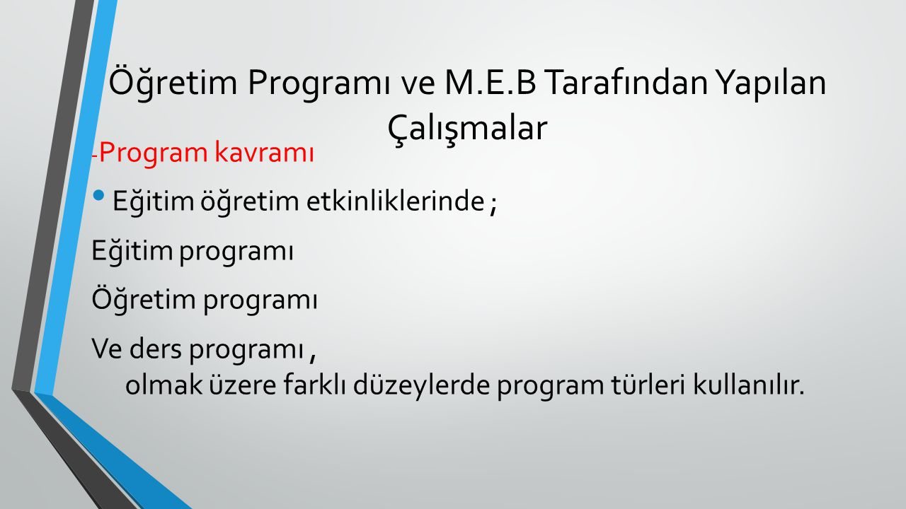 Öğretim Programı ve M.E.B Tarafından Yapılan Çalışmalar