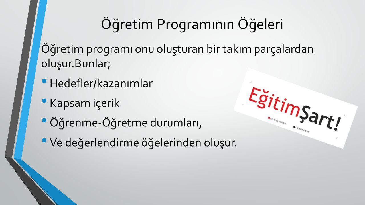 Öğretim Programının Öğeleri