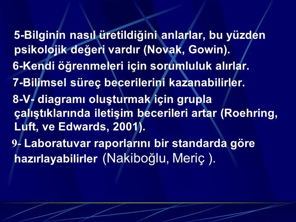 5-Bilginin nasıl üretildiğini anlarlar, bu yüzden psikolojik değeri vardır (Novak, Gowin).