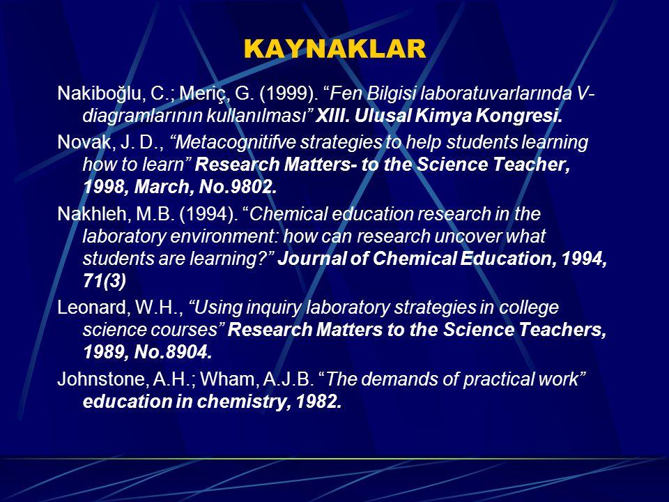 KAYNAKLAR Nakiboğlu, C.; Meriç, G. (1999). Fen Bilgisi laboratuvarlarında V-diagramlarının kullanılması XIII. Ulusal Kimya Kongresi.