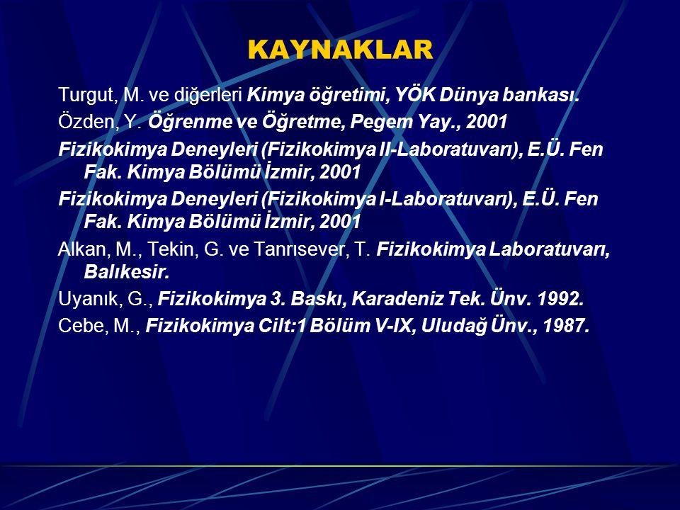 KAYNAKLAR Turgut, M. ve diğerleri Kimya öğretimi, YÖK Dünya bankası.