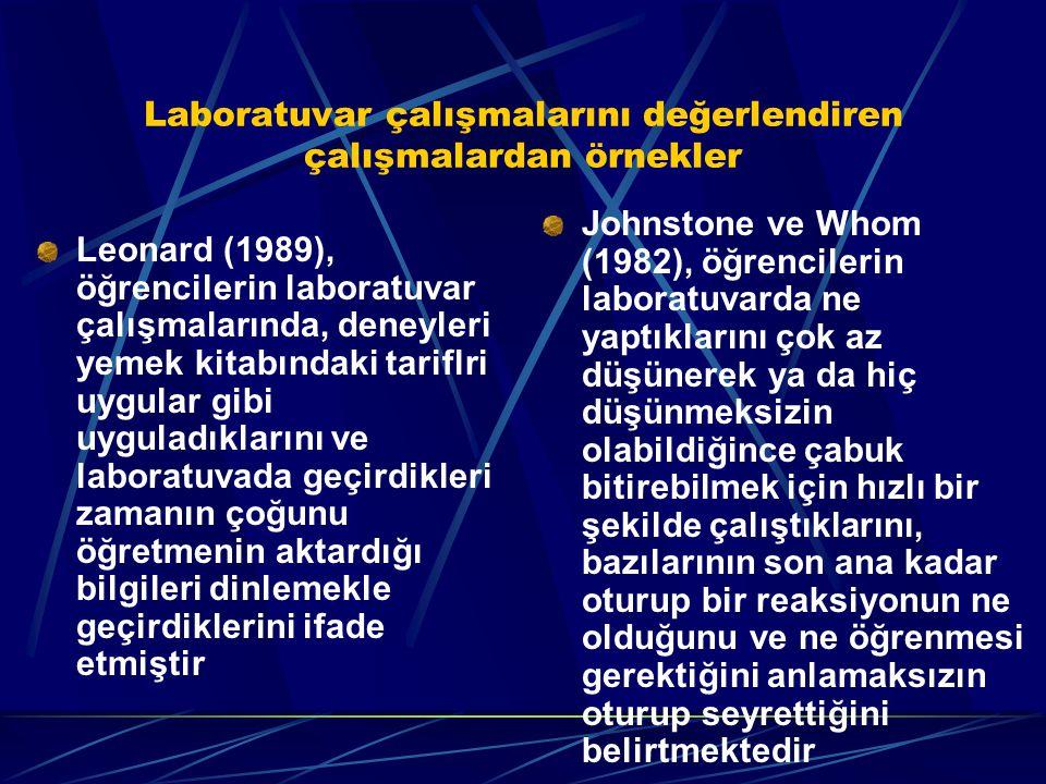 Laboratuvar çalışmalarını değerlendiren çalışmalardan örnekler