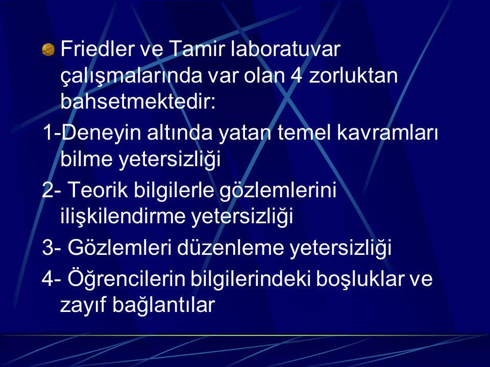 Friedler ve Tamir laboratuvar çalışmalarında var olan 4 zorluktan bahsetmektedir: