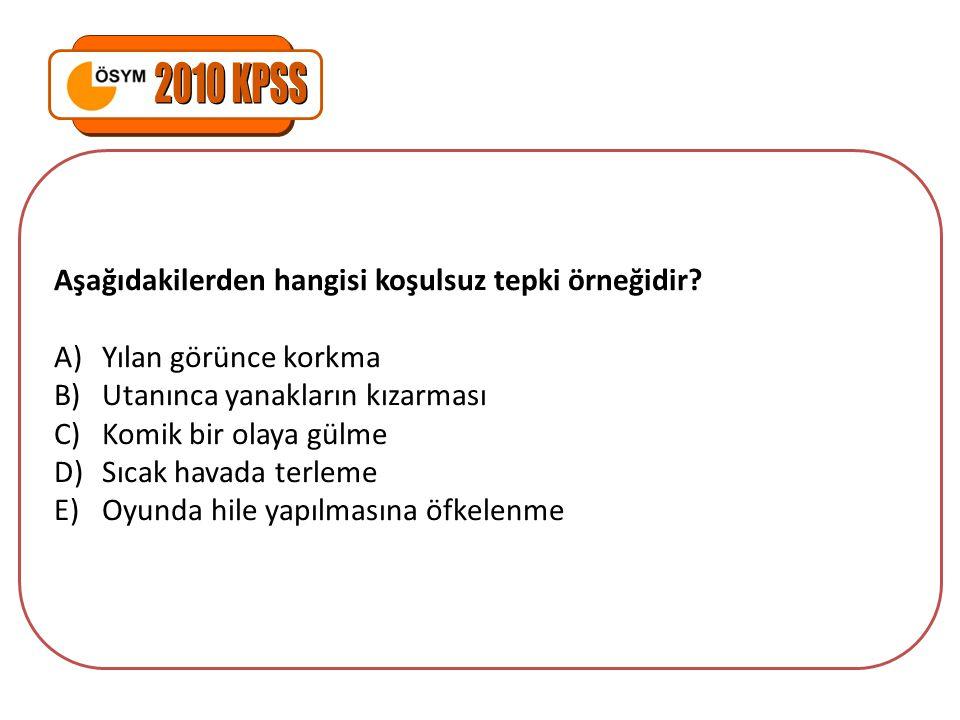 2010 KPSS Aşağıdakilerden hangisi koşulsuz tepki örneğidir
