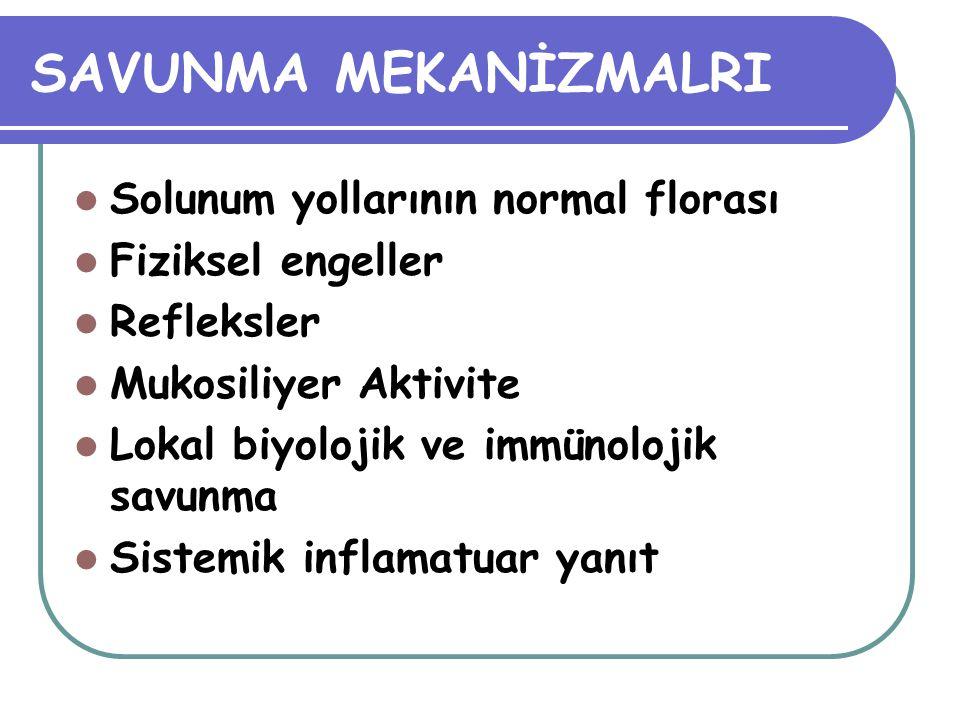 SAVUNMA MEKANİZMALRI Solunum yollarının normal florası