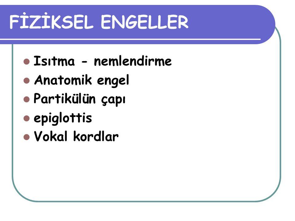 FİZİKSEL ENGELLER Isıtma - nemlendirme Anatomik engel Partikülün çapı
