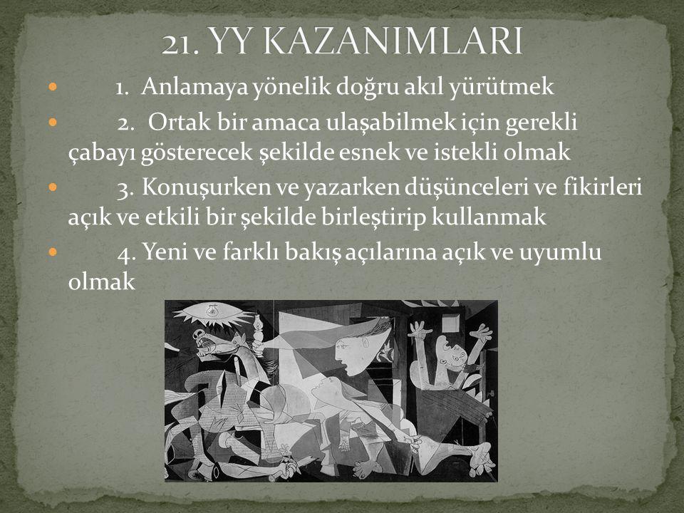 21. YY KAZANIMLARI 1. Anlamaya yönelik doğru akıl yürütmek