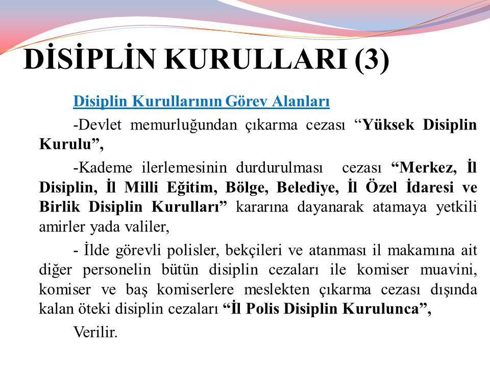 DİSİPLİN KURULLARI (3) Disiplin Kurullarının Görev Alanları
