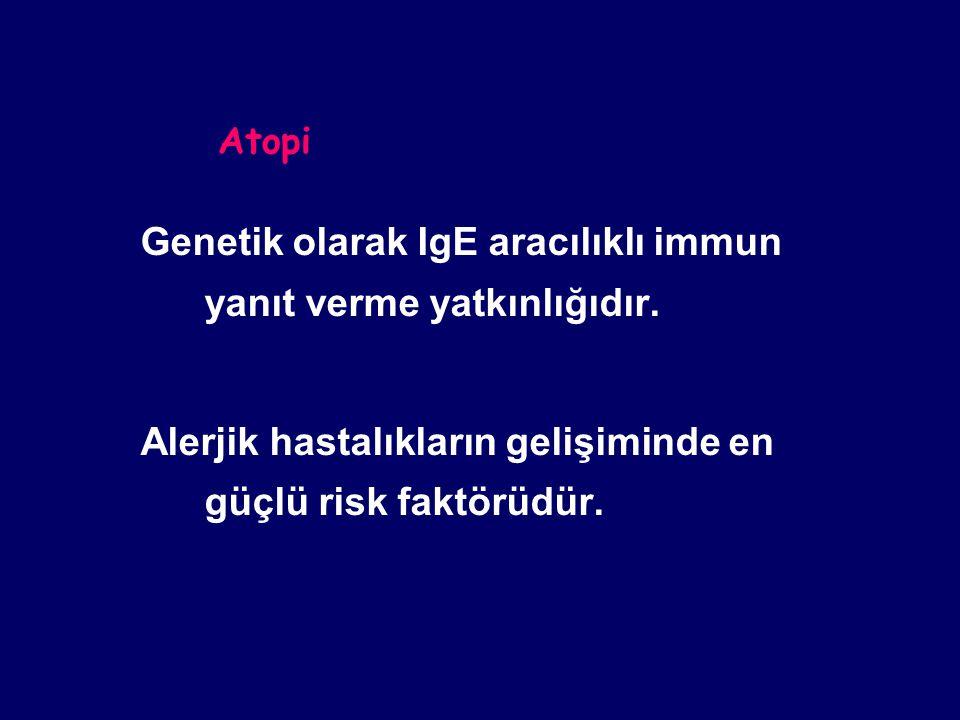 Atopi Genetik olarak IgE aracılıklı immun yanıt verme yatkınlığıdır.