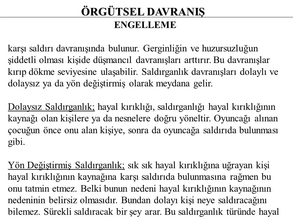 ÖRGÜTSEL DAVRANIŞ ENGELLEME
