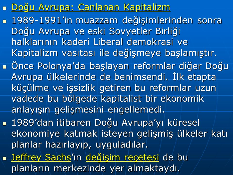 Doğu Avrupa: Canlanan Kapitalizm