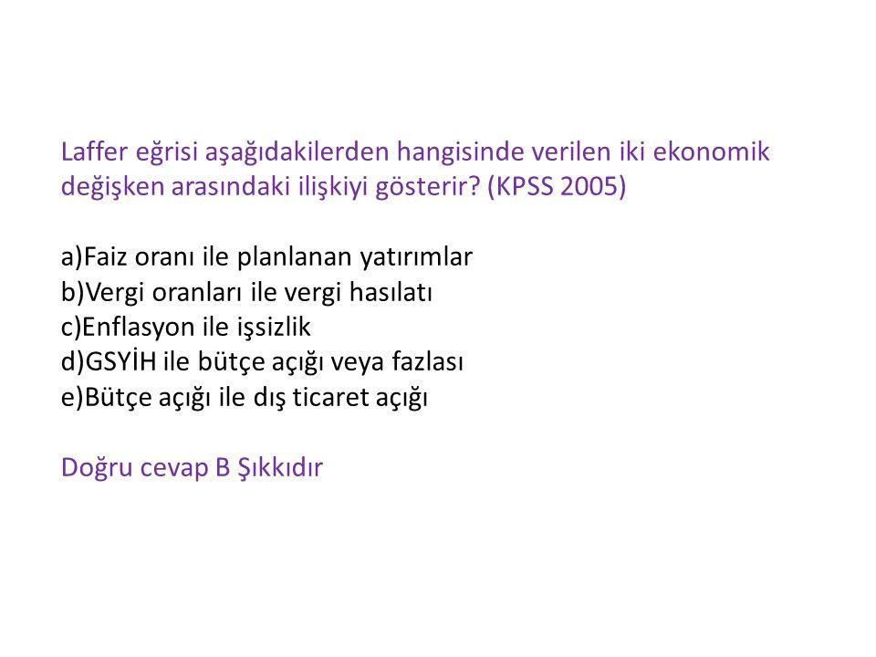 Laffer eğrisi aşağıdakilerden hangisinde verilen iki ekonomik değişken arasındaki ilişkiyi gösterir (KPSS 2005)