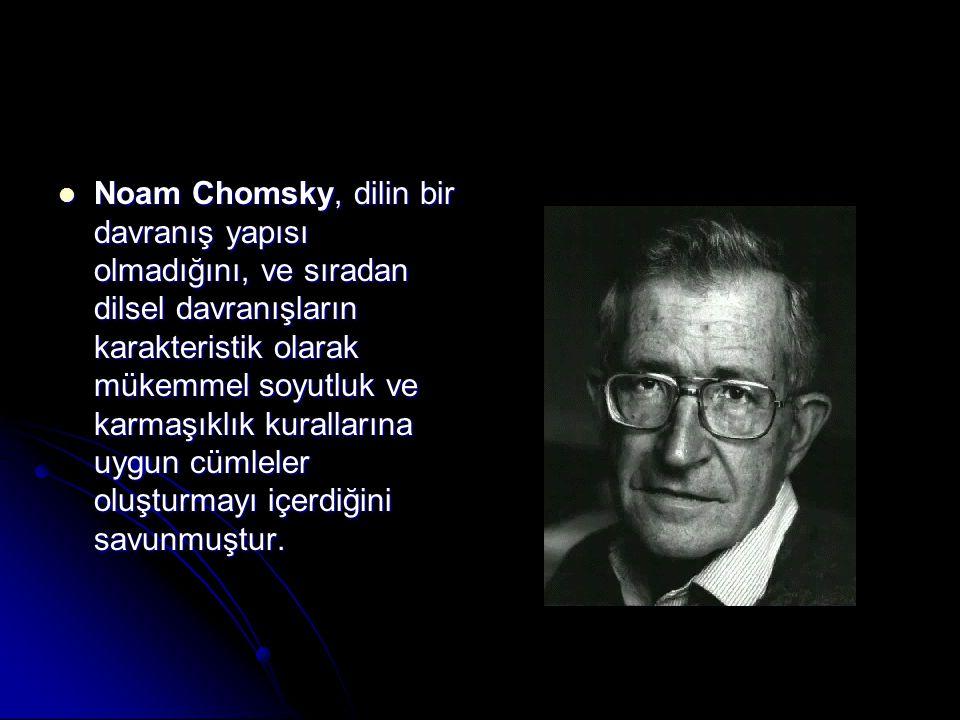 Noam Chomsky, dilin bir davranış yapısı olmadığını, ve sıradan dilsel davranışların karakteristik olarak mükemmel soyutluk ve karmaşıklık kurallarına uygun cümleler oluşturmayı içerdiğini savunmuştur.
