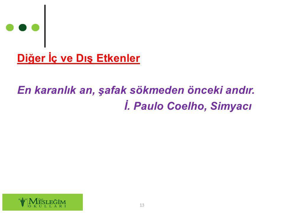 Diğer İç ve Dış Etkenler En karanlık an, şafak sökmeden önceki andır. İ. Paulo Coelho, Simyacı
