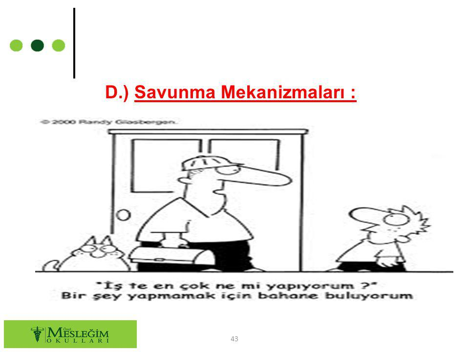 D.) Savunma Mekanizmaları :