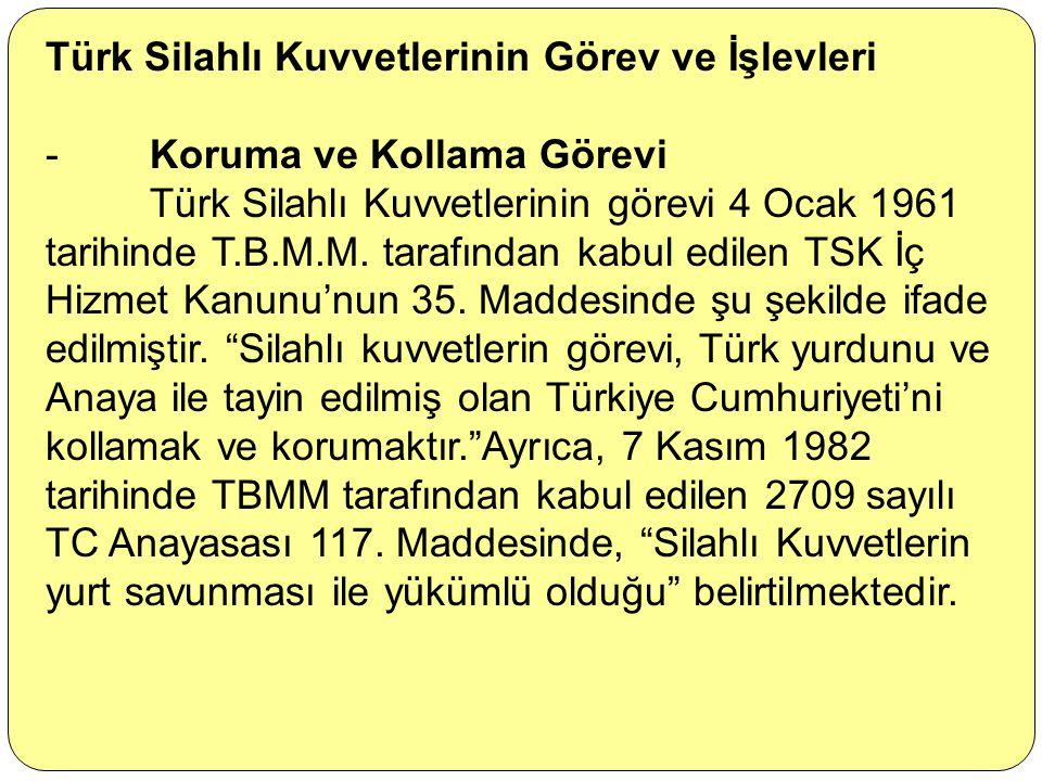 Türk Silahlı Kuvvetlerinin Görev ve İşlevleri