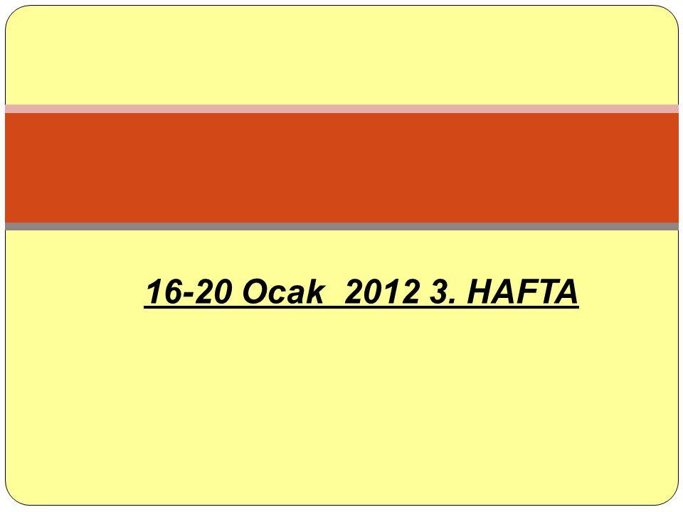 16-20 Ocak 2012 3. HAFTA
