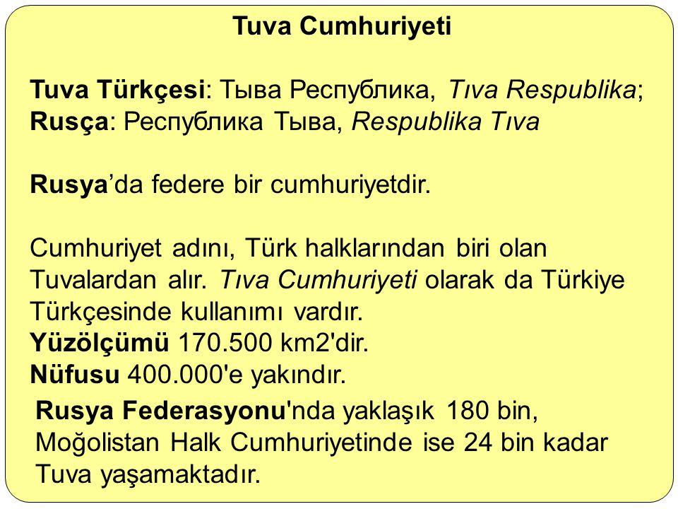 Tuva Cumhuriyeti Tuva Türkçesi: Тыва Республика, Tıva Respublika; Rusça: Республика Тыва, Respublika Tıva.