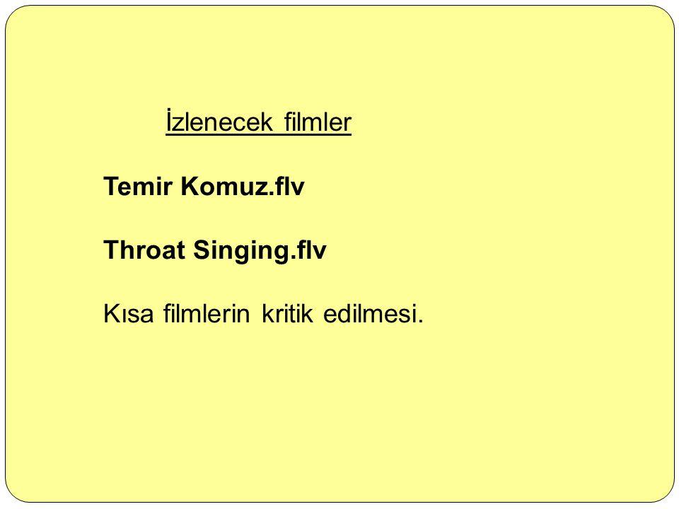 İzlenecek filmler Temir Komuz.flv Throat Singing.flv Kısa filmlerin kritik edilmesi.