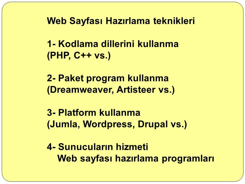 Web Sayfası Hazırlama teknikleri