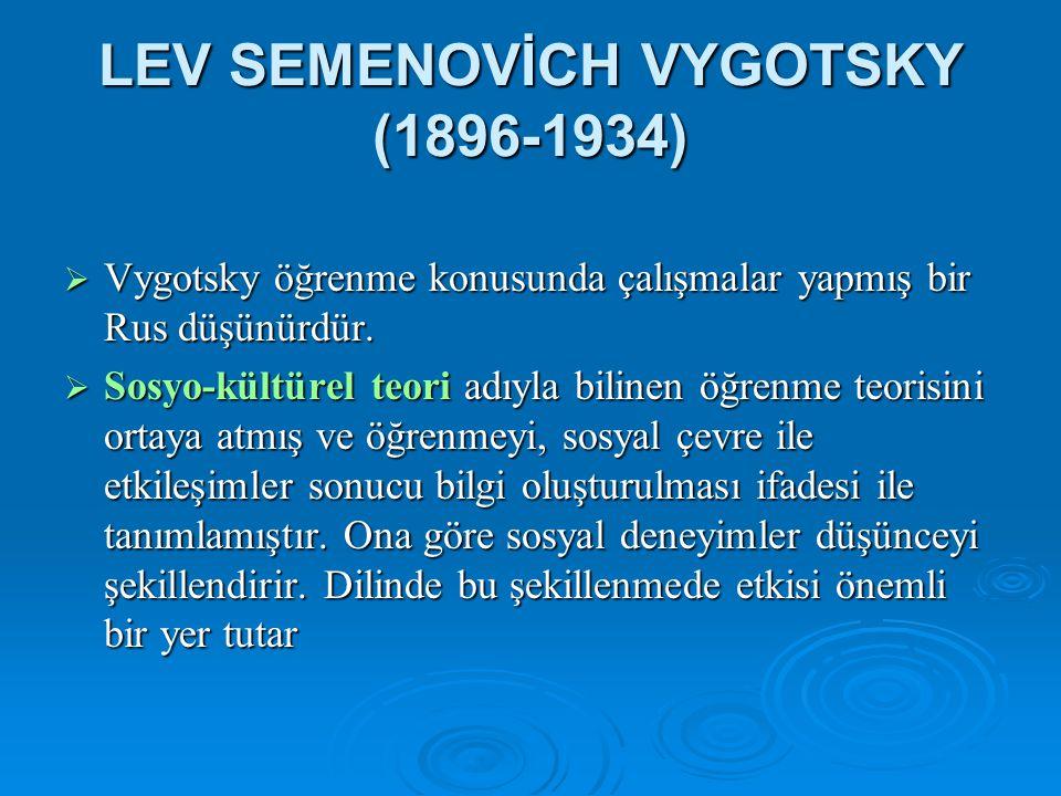 LEV SEMENOVİCH VYGOTSKY (1896-1934)