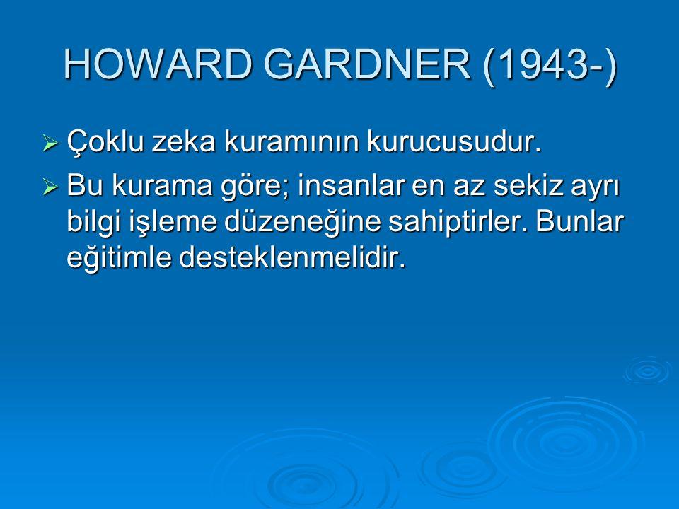 HOWARD GARDNER (1943-) Çoklu zeka kuramının kurucusudur.