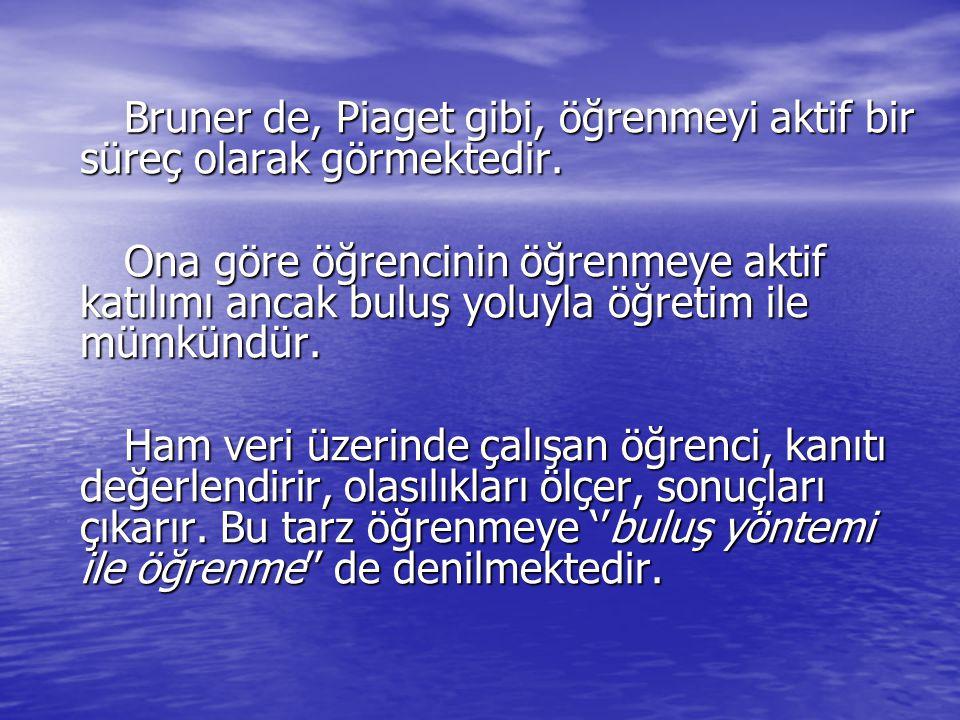 Bruner de, Piaget gibi, öğrenmeyi aktif bir süreç olarak görmektedir.