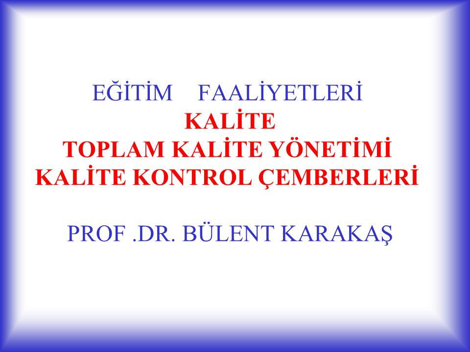 EĞİTİM FAALİYETLERİ KALİTE TOPLAM KALİTE YÖNETİMİ KALİTE KONTROL ÇEMBERLERİ PROF .DR. BÜLENT KARAKAŞ