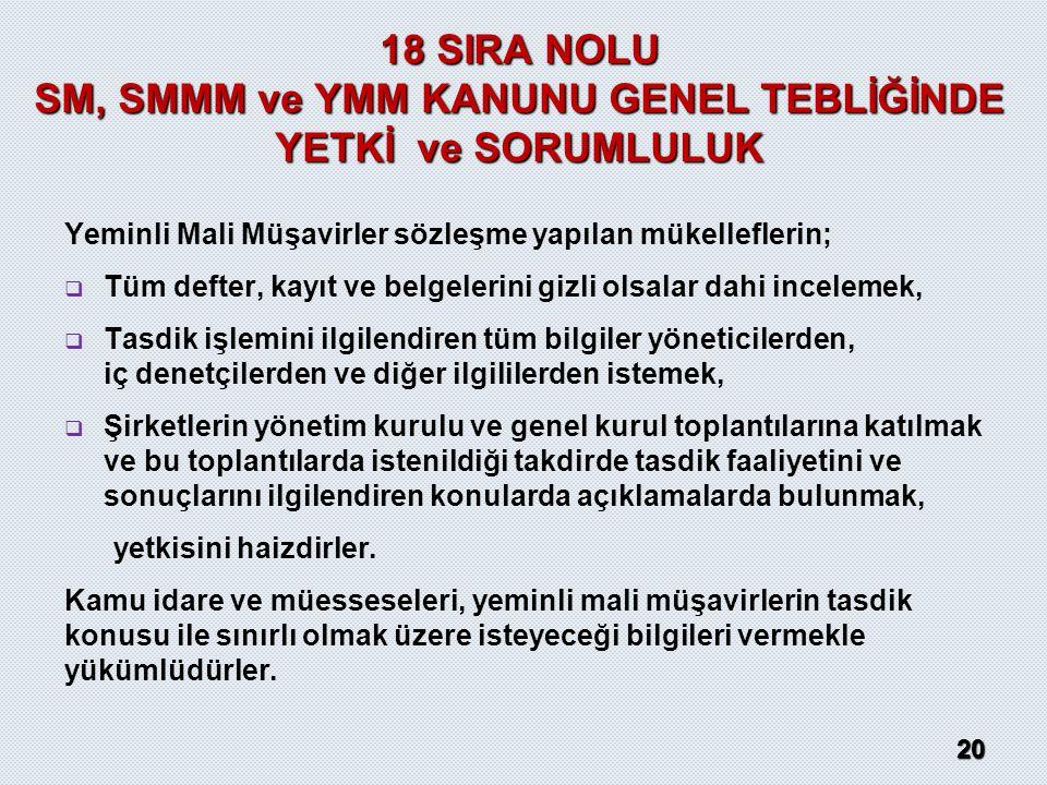 18 SIRA NOLU SM, SMMM ve YMM KANUNU GENEL TEBLİĞİNDE YETKİ ve SORUMLULUK