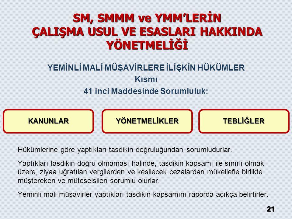 SM, SMMM ve YMM'LERİN ÇALIŞMA USUL VE ESASLARI HAKKINDA YÖNETMELİĞİ