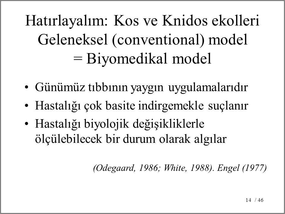 Hatırlayalım: Kos ve Knidos ekolleri Geleneksel (conventional) model = Biyomedikal model