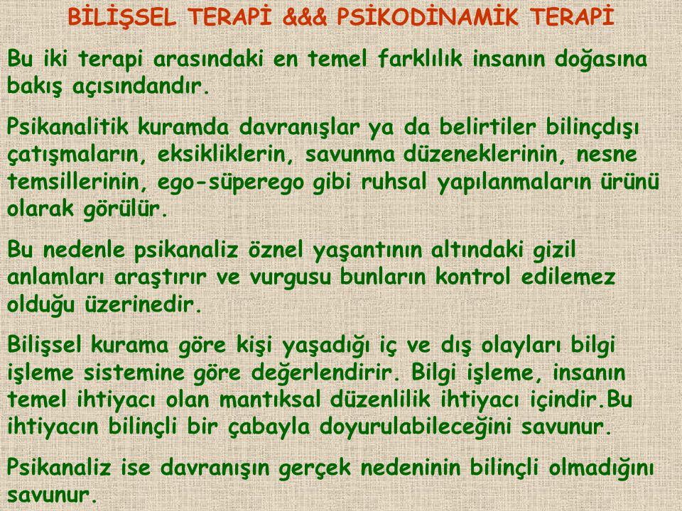 BİLİŞSEL TERAPİ &&& PSİKODİNAMİK TERAPİ