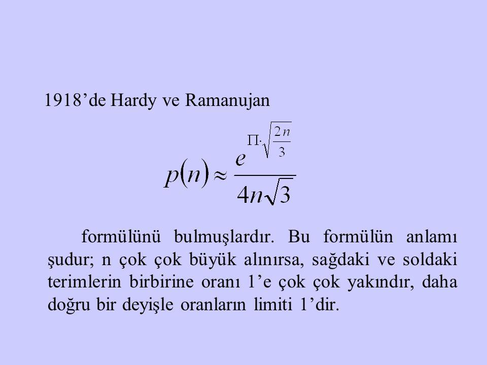 1918'de Hardy ve Ramanujan