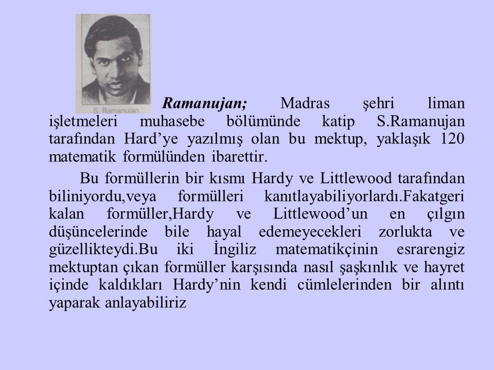 Ramanujan; Madras şehri liman işletmeleri muhasebe bölümünde katip S