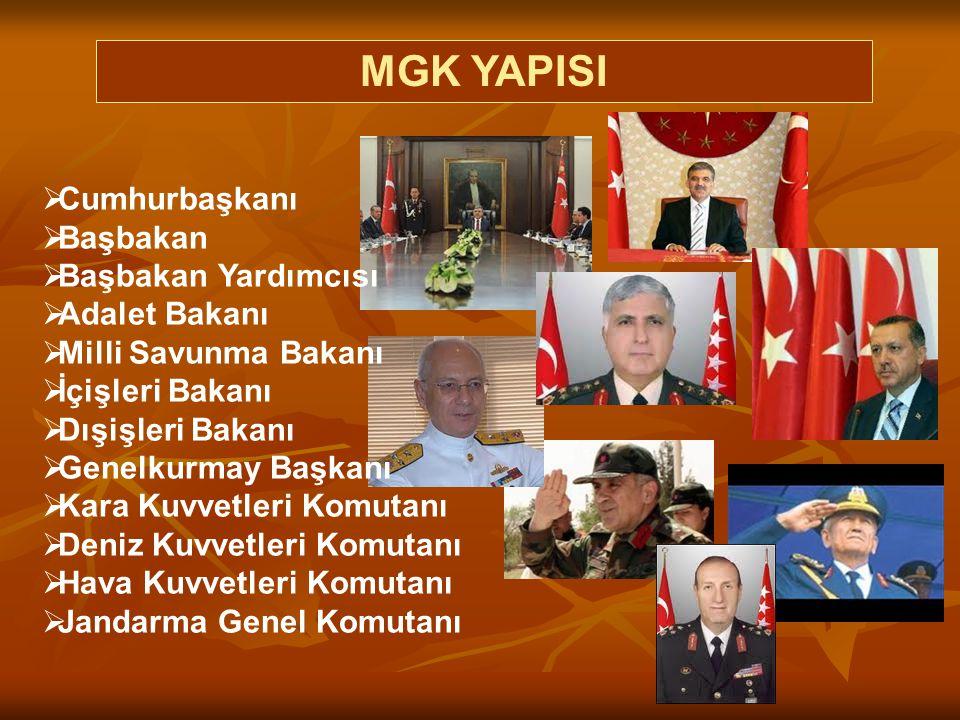 MGK YAPISI Cumhurbaşkanı Başbakan Başbakan Yardımcısı Adalet Bakanı