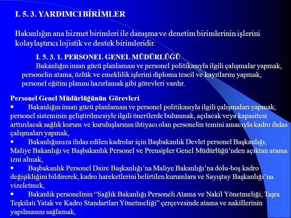 I. 5. 3. YARDIMCI BİRİMLER