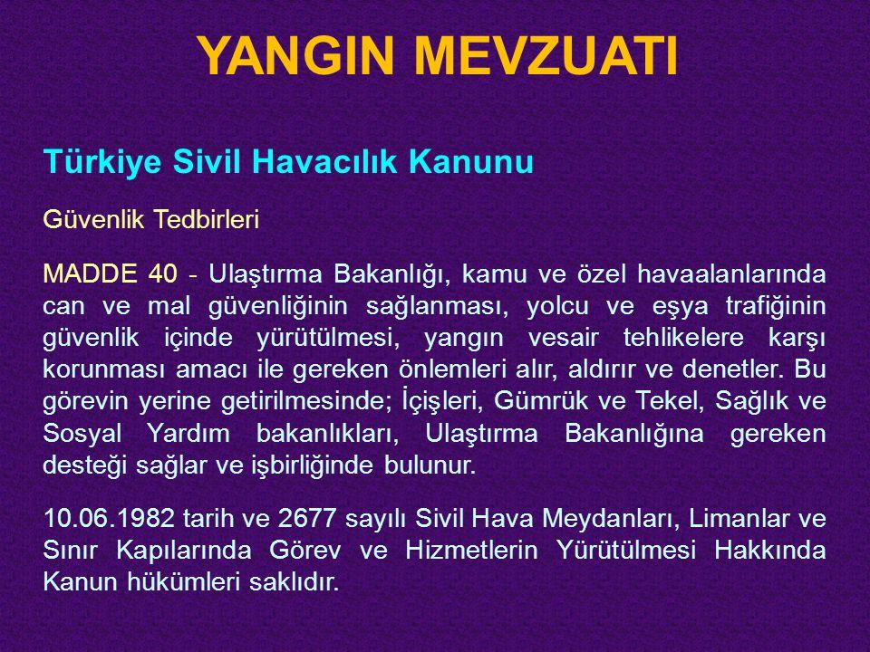 YANGIN MEVZUATI Türkiye Sivil Havacılık Kanunu Güvenlik Tedbirleri
