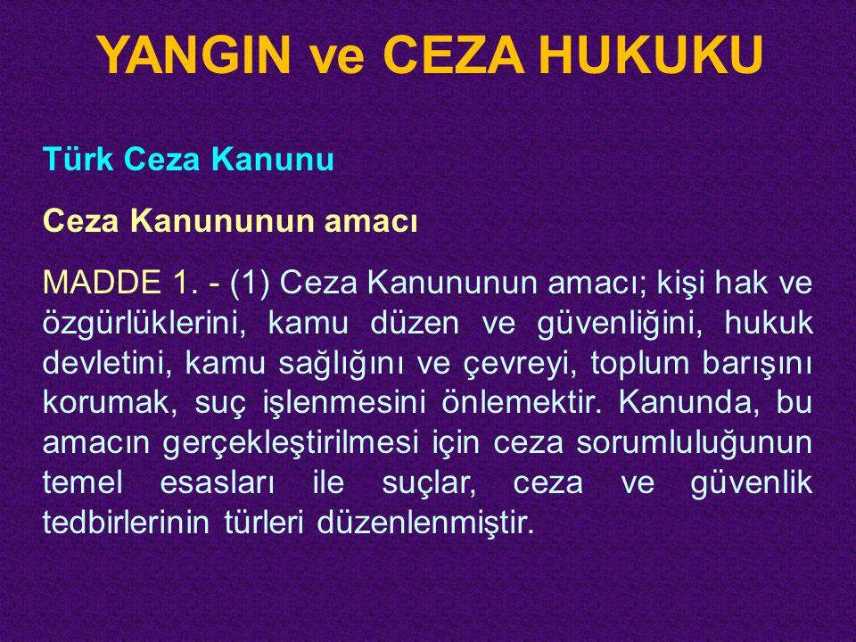 YANGIN ve CEZA HUKUKU Türk Ceza Kanunu Ceza Kanununun amacı