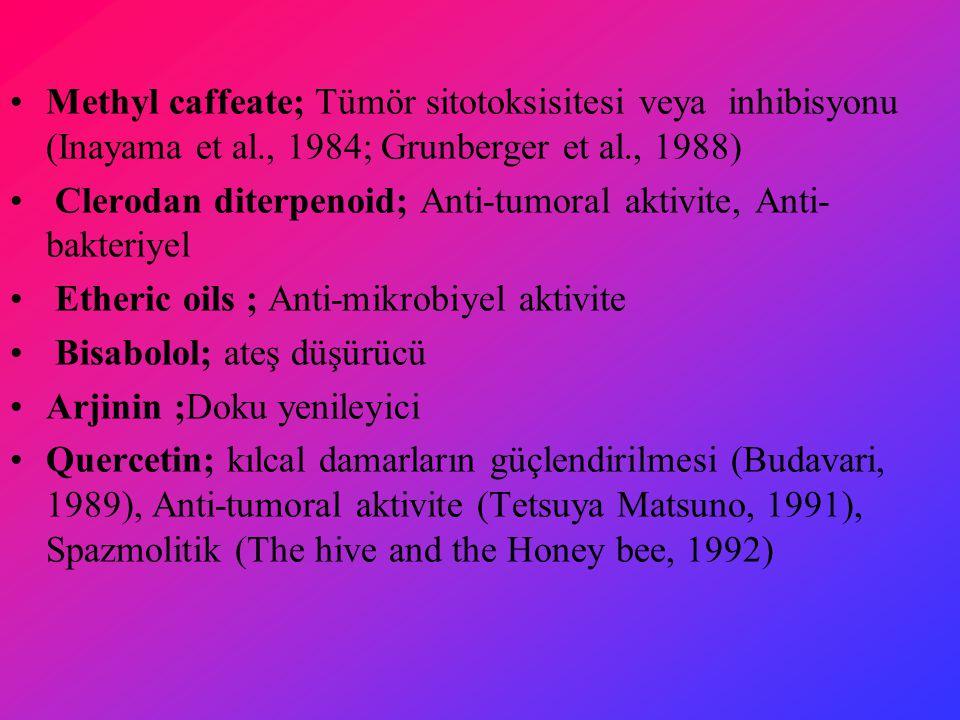 Methyl caffeate; Tümör sitotoksisitesi veya inhibisyonu (Inayama et al