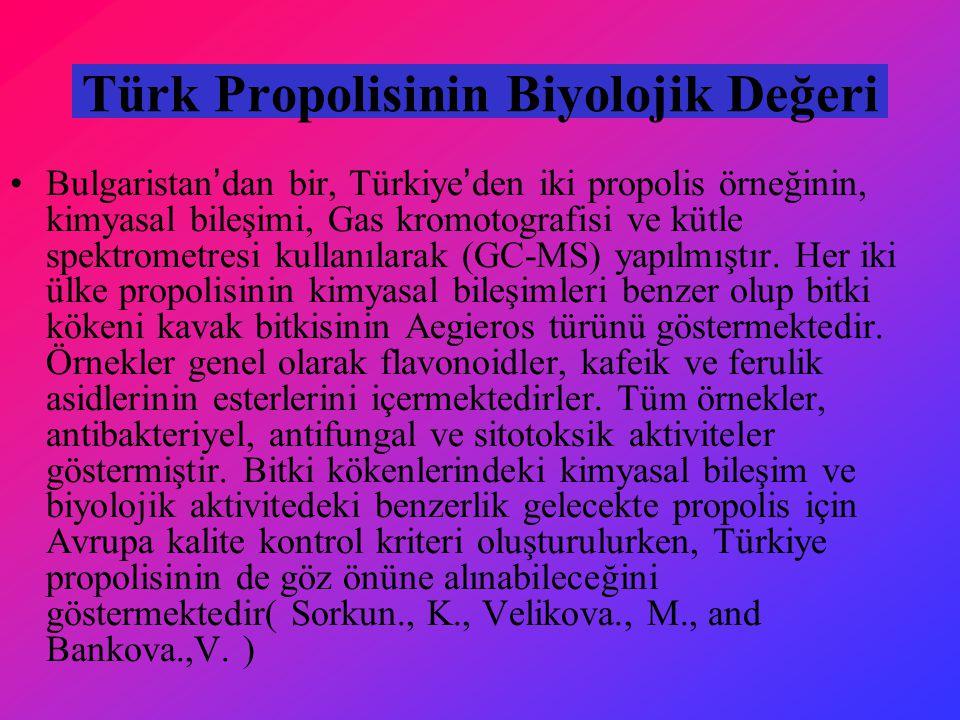 Türk Propolisinin Biyolojik Değeri
