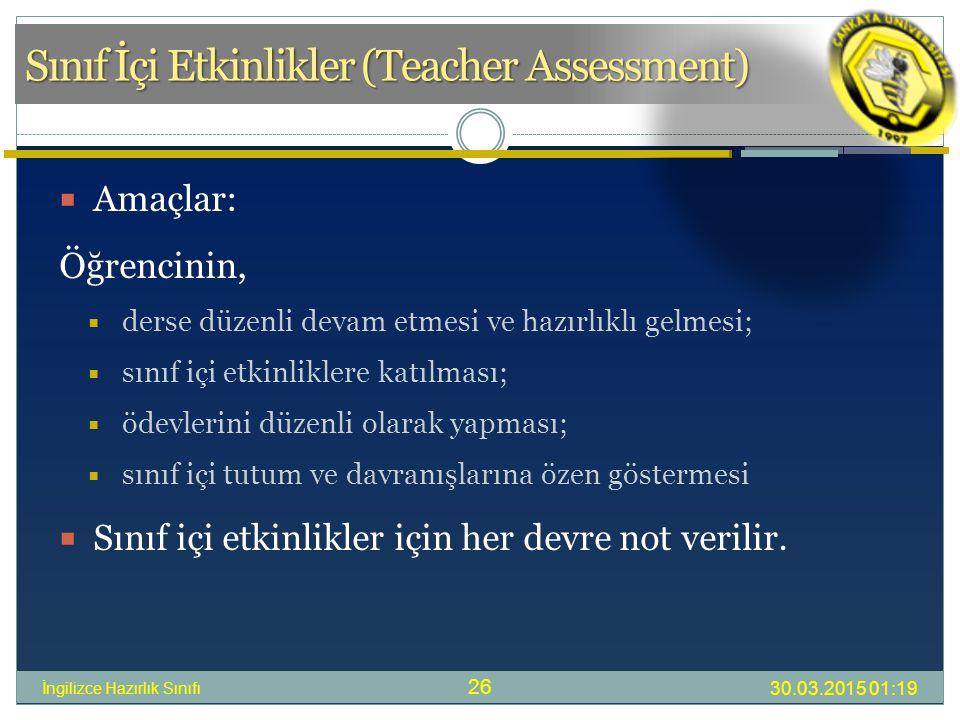 Sınıf İçi Etkinlikler (Teacher Assessment)