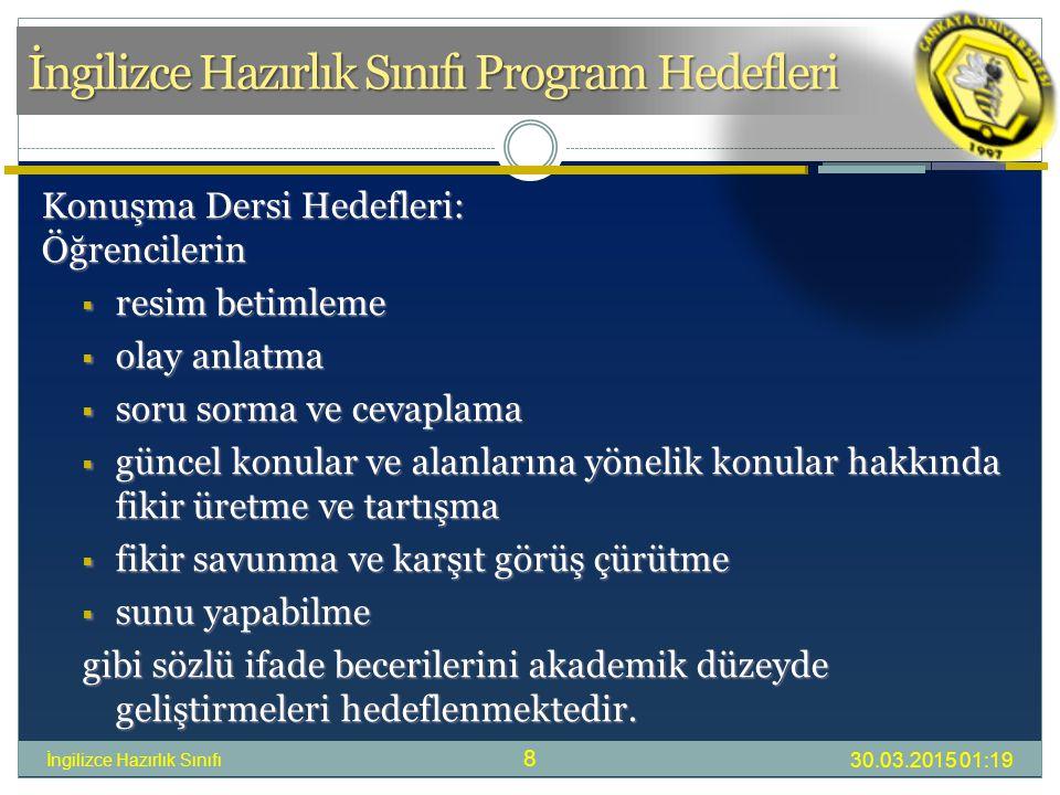 İngilizce Hazırlık Sınıfı Program Hedefleri