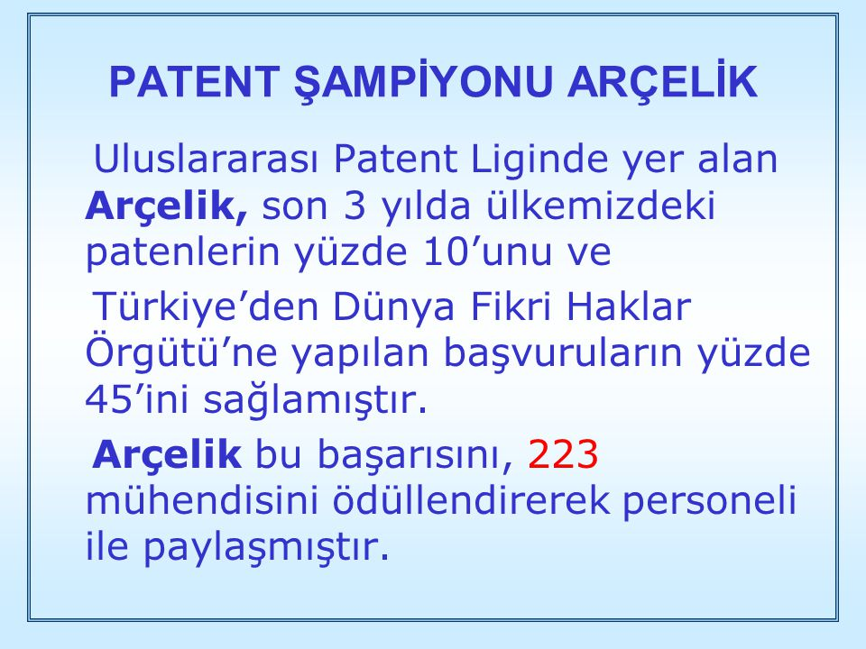 PATENT ŞAMPİYONU ARÇELİK